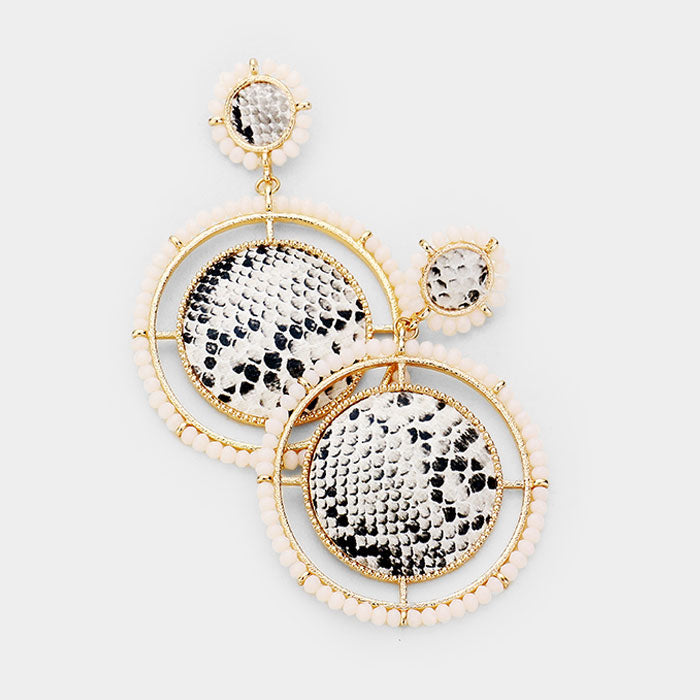 White Beaded Snakeskin Earrings