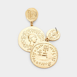 Golden Coin Statement Earrings