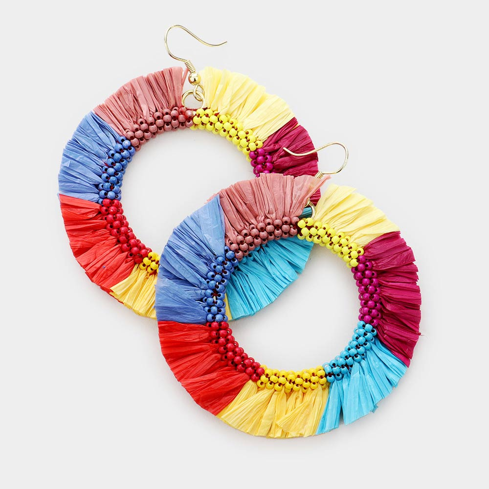Raffia Beaded Tassel Earrings