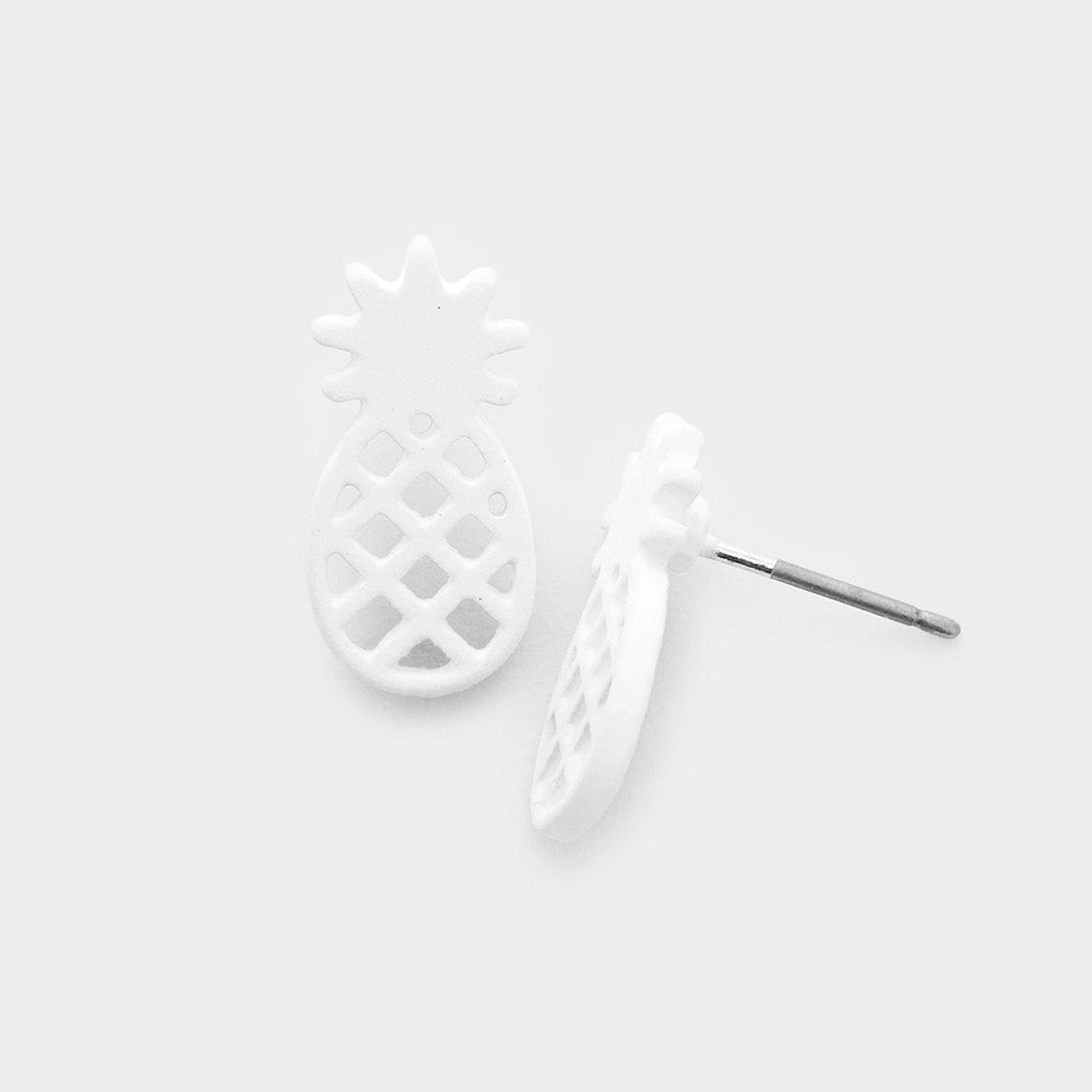 White Pineapple Stud Earrings