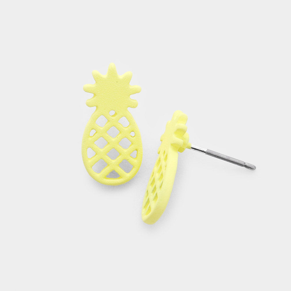 Yellow Pineapple Stud Earrings