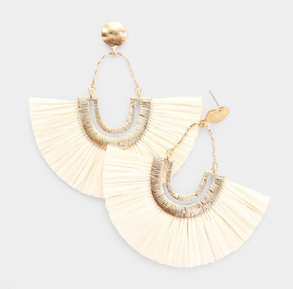 White Hot Fan Tassel Earrings
