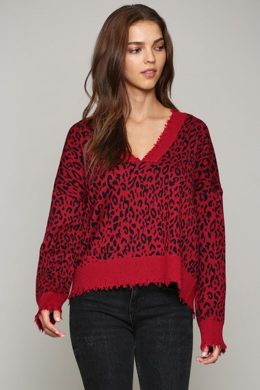 RED LEOPARD SWEATER