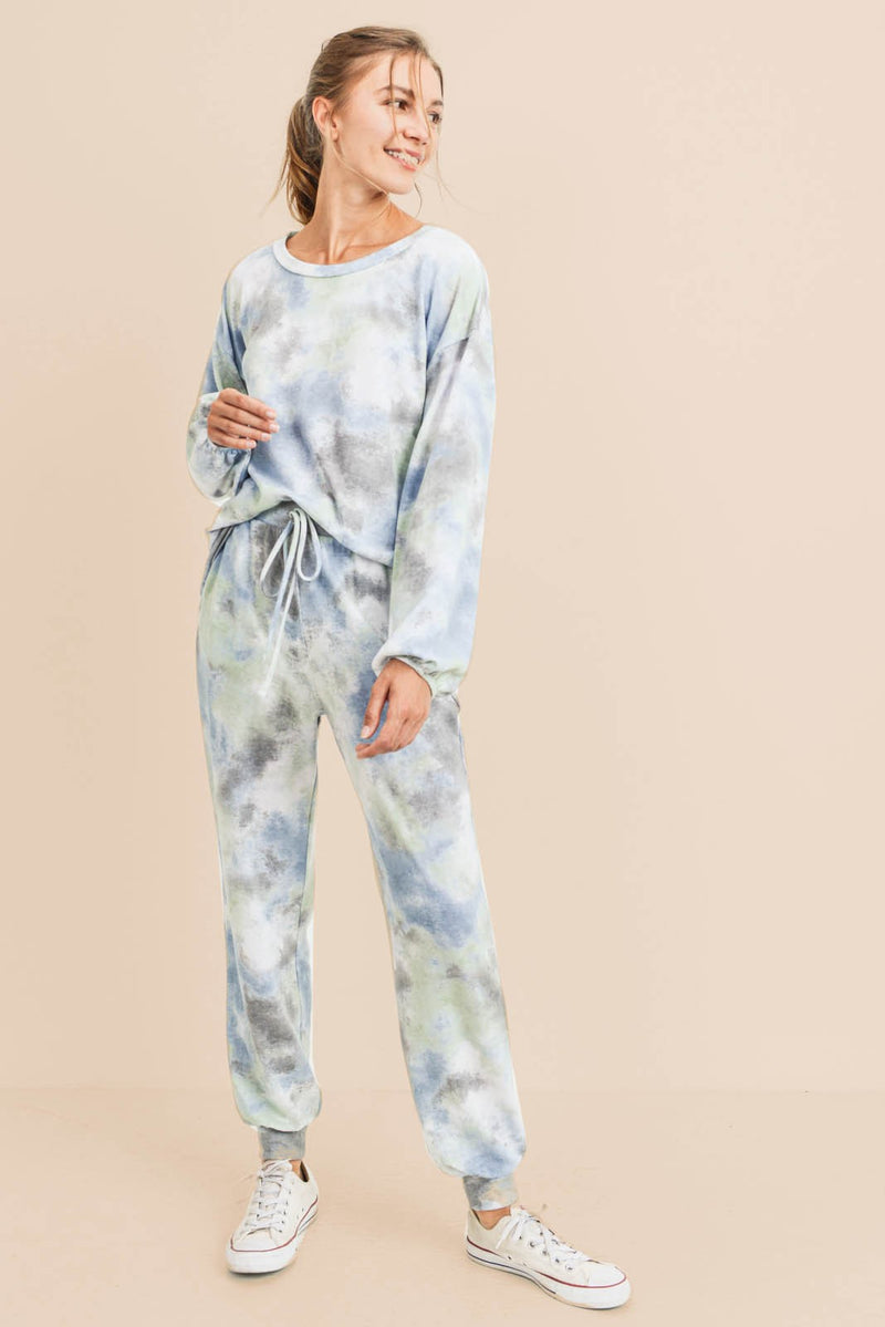 BLUE GREY TIE DYE SET