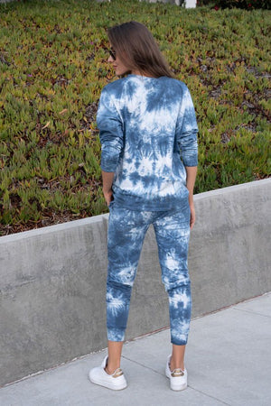 BLUE WHITE TIE DYE SET