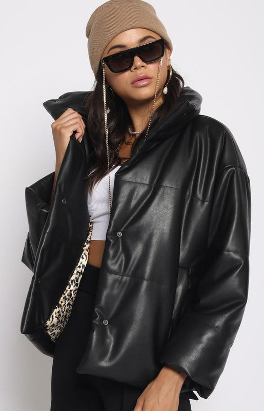 PLEATHER PUFFER JACKET
