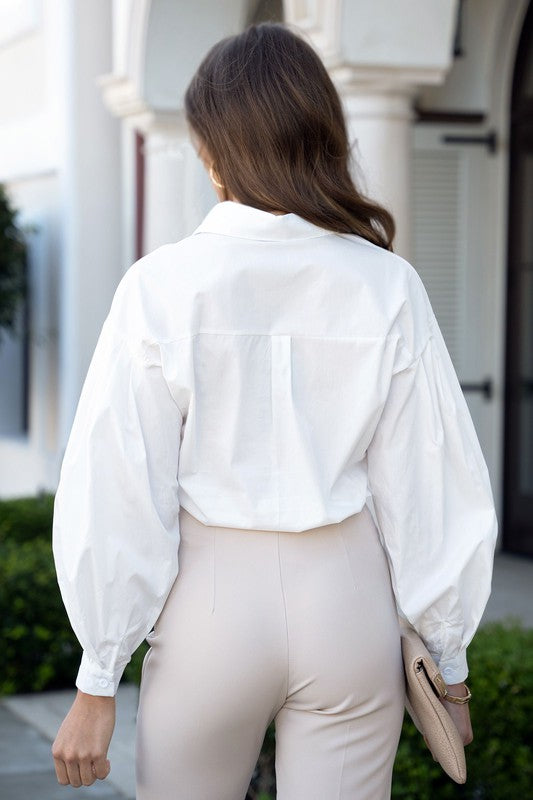 WHITE BUBBLE SLEEVES SHIRT