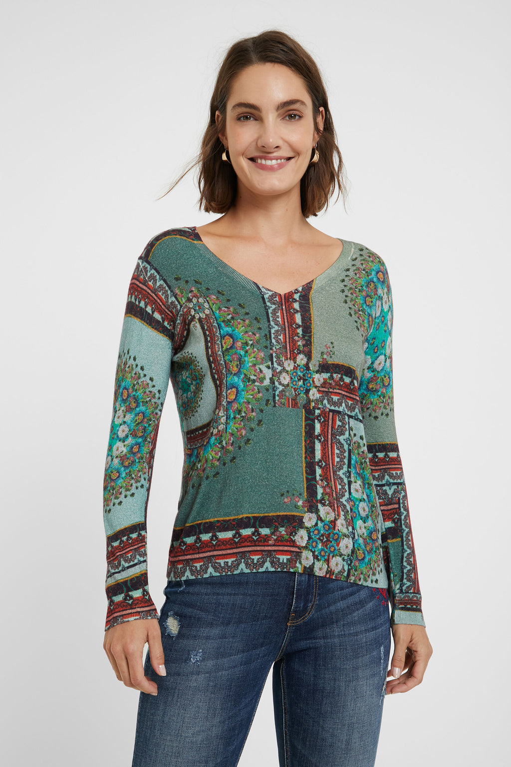 BOHO FLORAL SWEATER