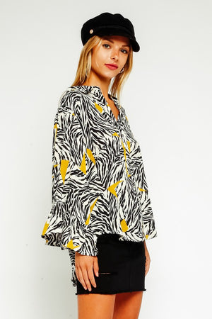 Zebra Button Down Blouse