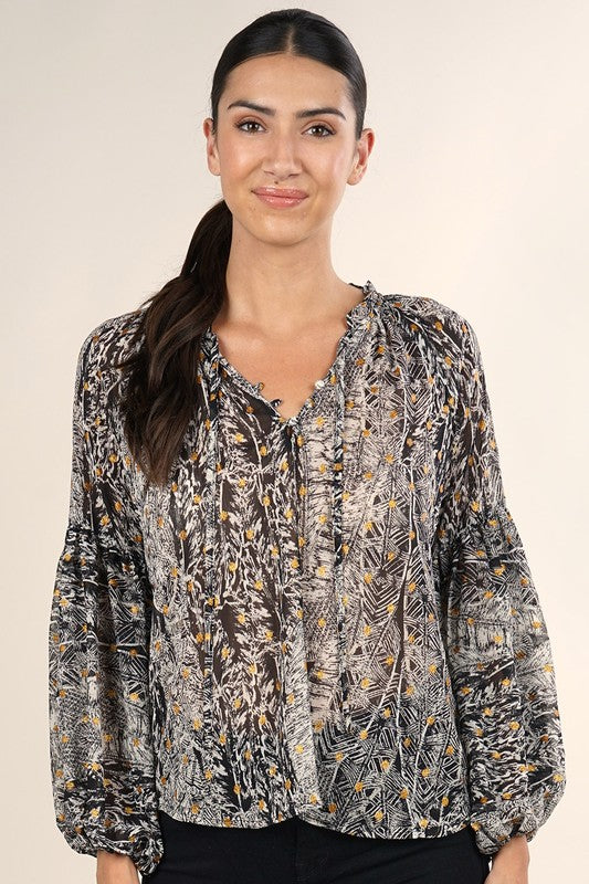 Balloon Sleeve Printed Blouse