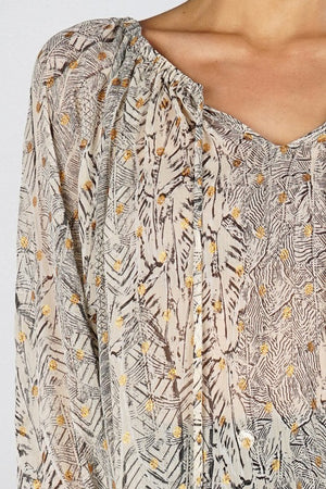 Feather Print Peasant Blouse
