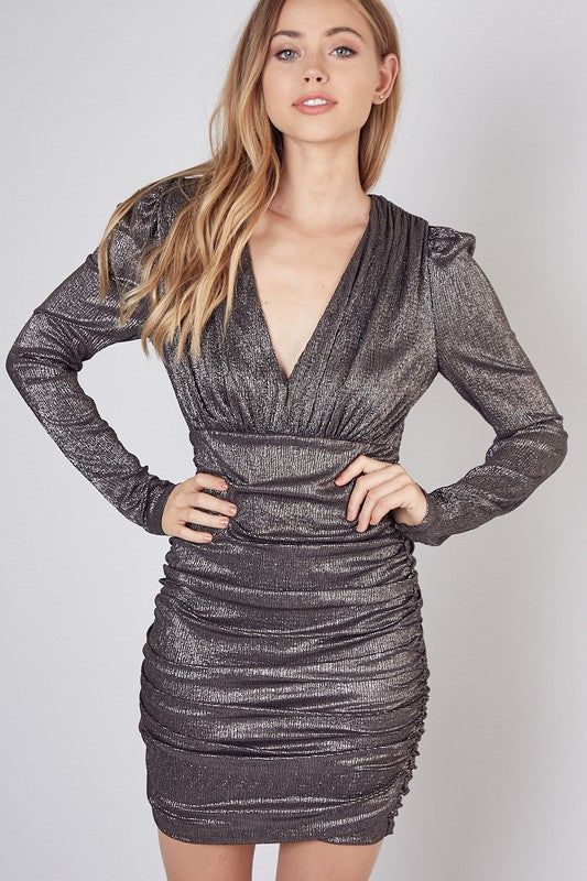 Metallic Shirred Dress