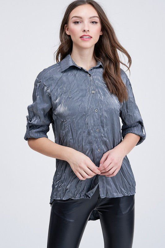 Crinkle Button Down Blouse