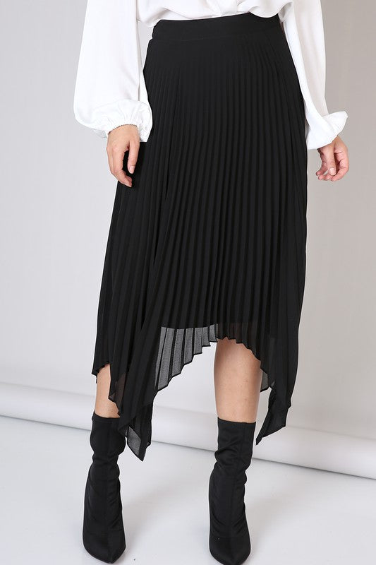 Asymmetrical Pleats Black Skirt