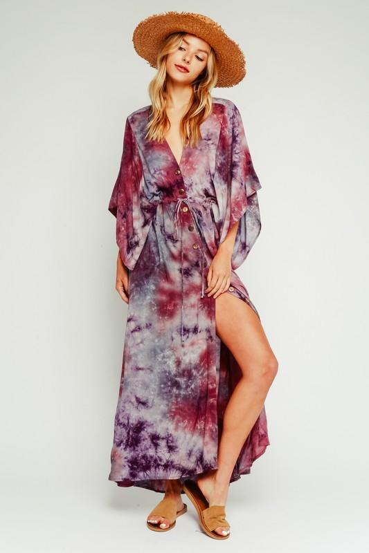 PURPLE TIE DYE MAXI DRESS
