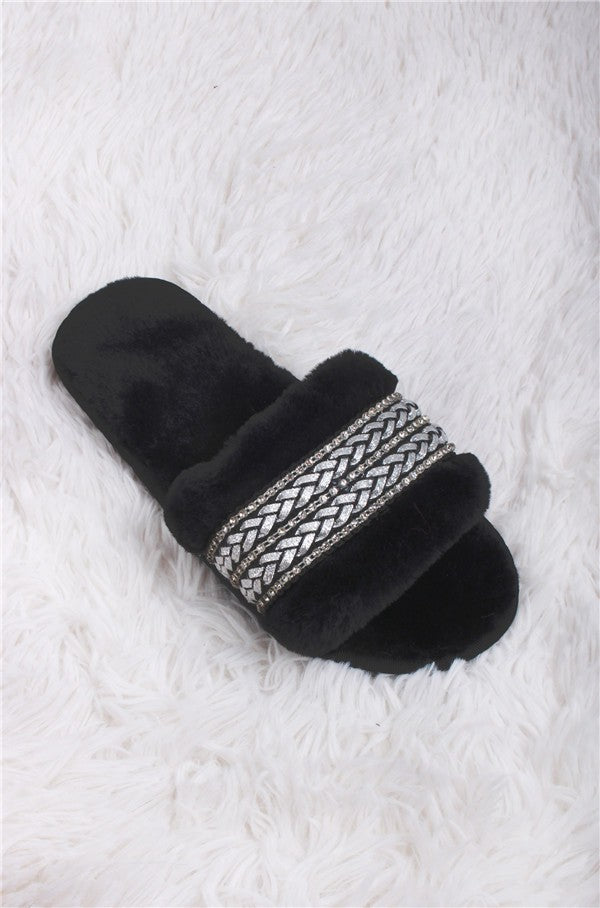 BLACK SILVER RIBBON SLIPPERS