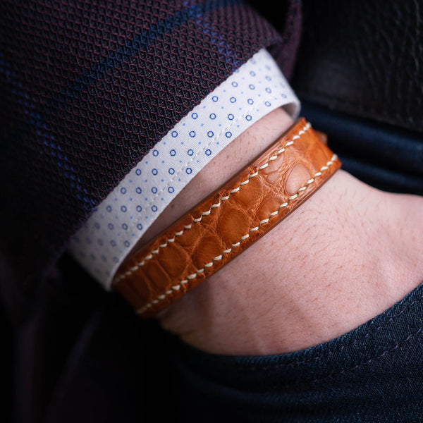 Alligator Cognac Leather Bracelet - Round Scale