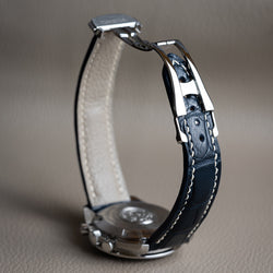 Padded Design - Blue Alligator Omega-Style Deployant Strap