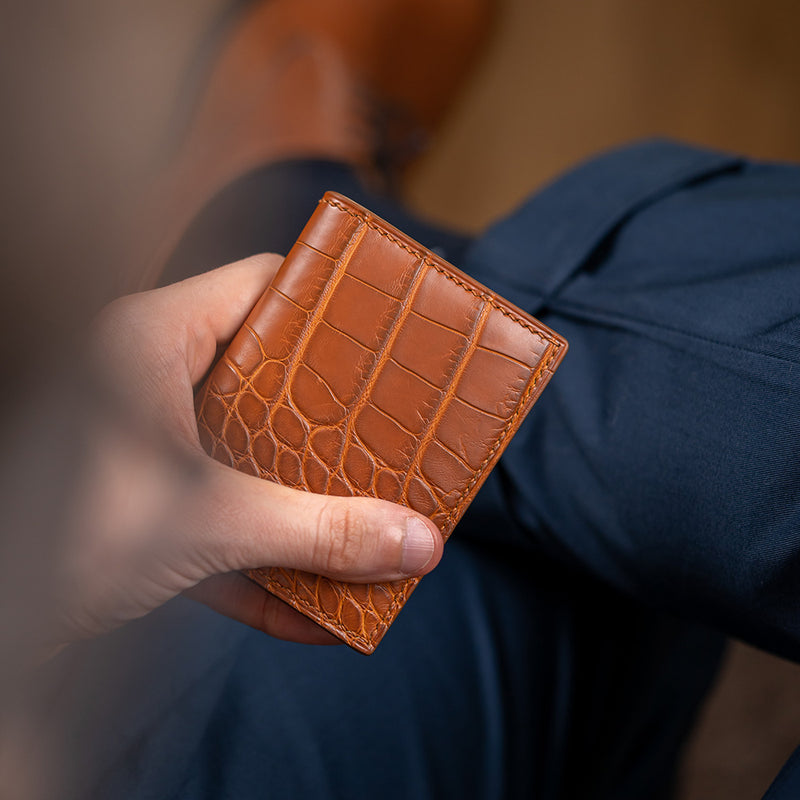 Cognac Alligator Card Holder with Brown Hand Stitching