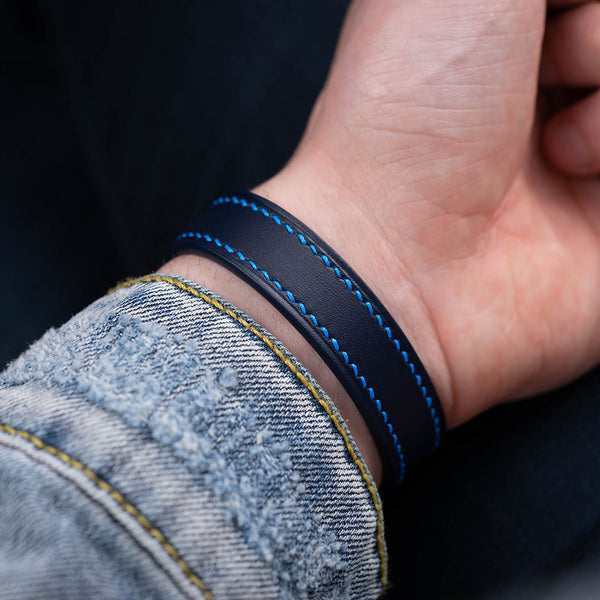 Blue calf leather bracelet & royal blue hand-stitching
