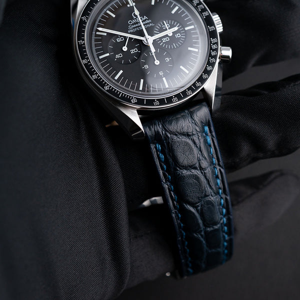 Omega-Style Deployant Blue Round Scale Alligator Strap