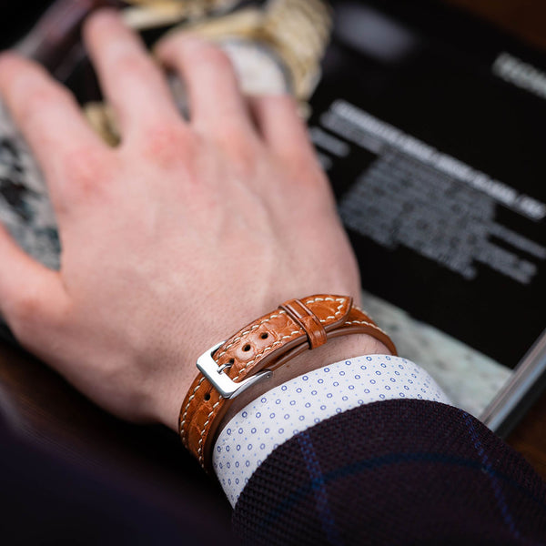 Alligator Cognac Bracelet - Round Scale