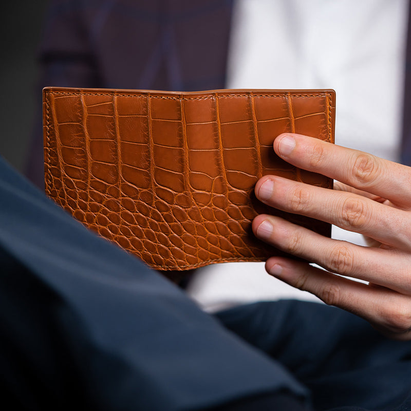 Cognac Alligator Card Holder