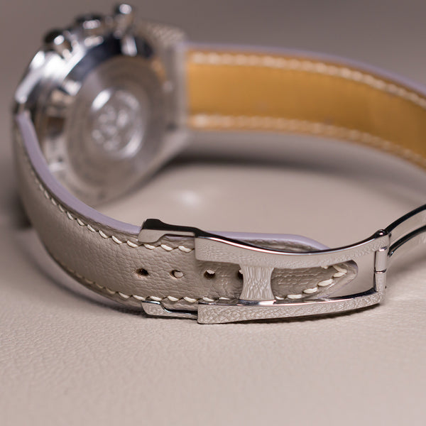 Example-Omega-Style Deployant Beige Goat Leather & Ecru Stitching
