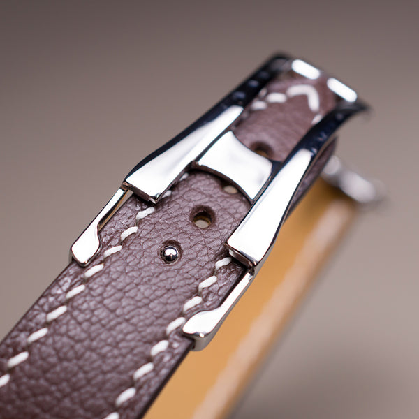 Example-Omega-Style Deployant Chocolate Goat Leather & White Stitching