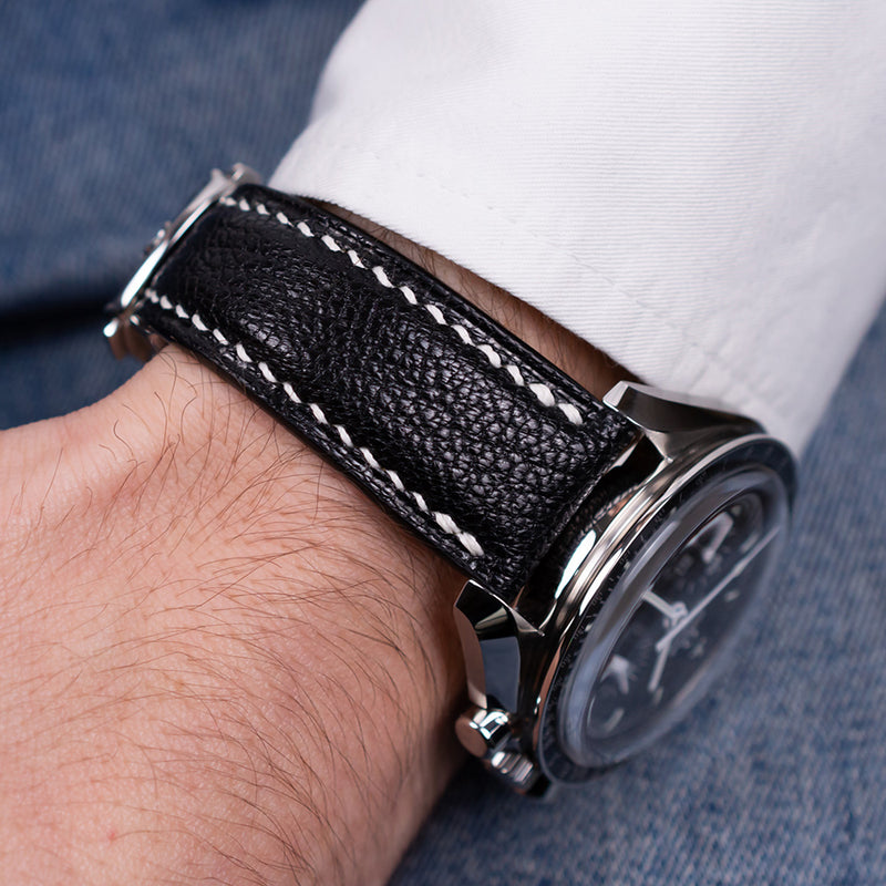 Example-Padded Black Goat Leather Strap & White Stitching