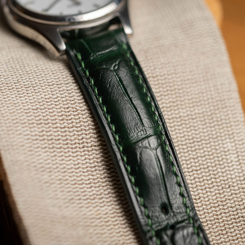 Green Alligator Leather & Green hand-stitching