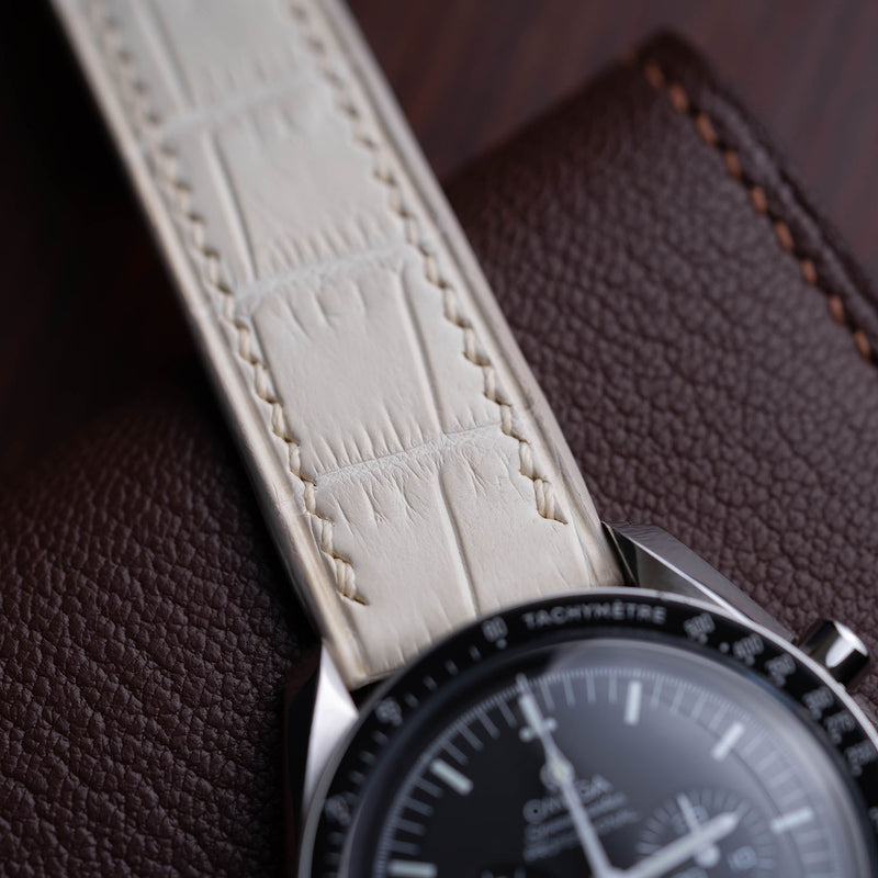 Himalaya White Watch Strap & white hand-stitching