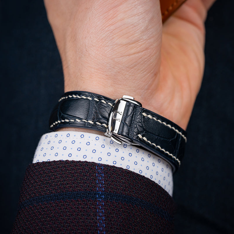 Omega-Style Deployant Blue Alligator Strap