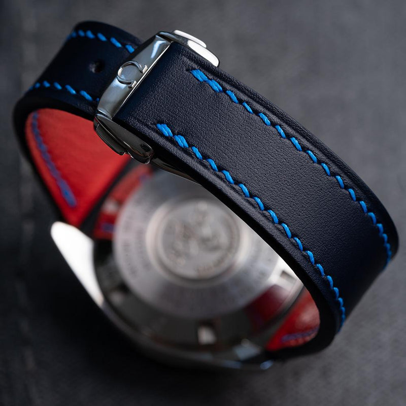 Classic Design - Blue calf leather with royal blue stitching and red goat lining