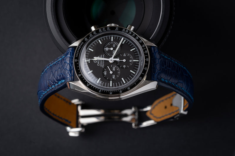 Padded Design - Omega-Style Deployant Blue Ostrich Leg Strap