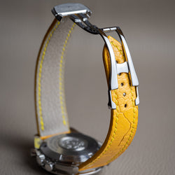 Classic Design - Omega-Style Deployant Yellow Ostrich Leg