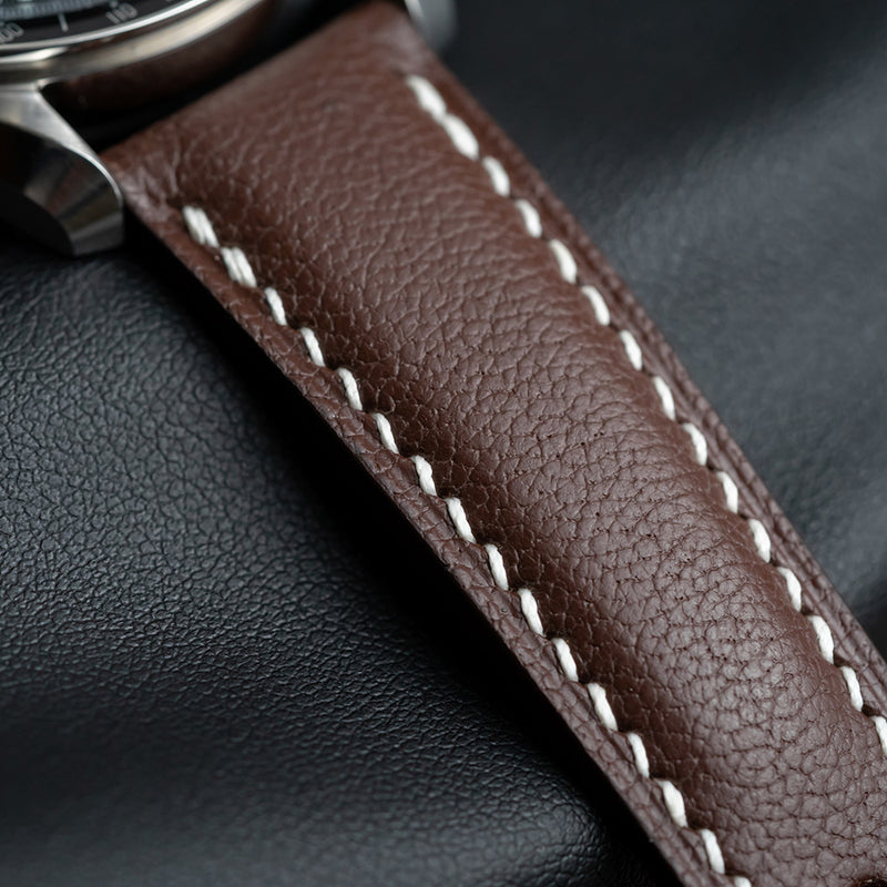 Example-Padded Chocolate Brown Goat Leather Strap & White Stitching