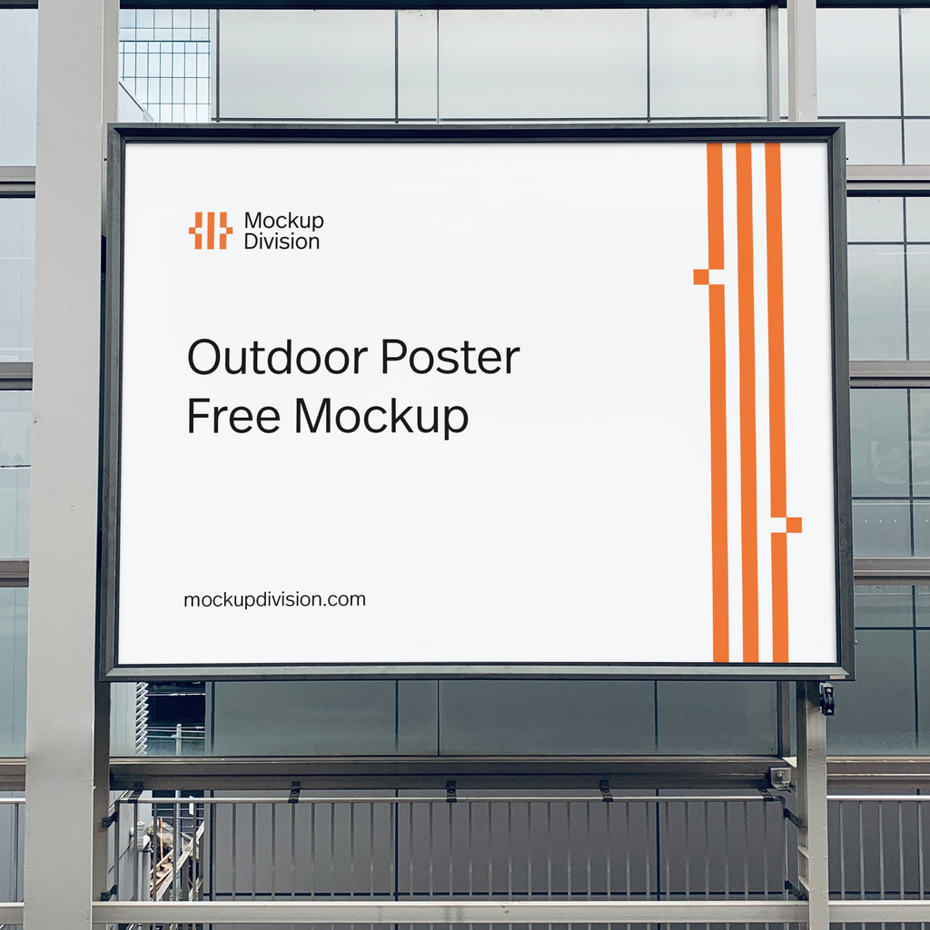 free realistic outdoor poster psd mockup