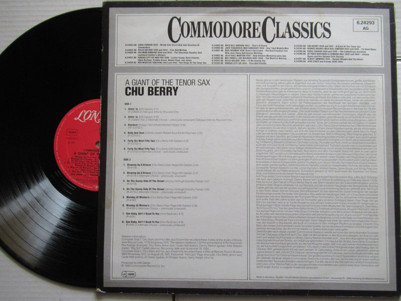 Chu Berry 1938 And 1941 | Commodore Classics A Giant Of The Tenor Sax | Germany | VG+