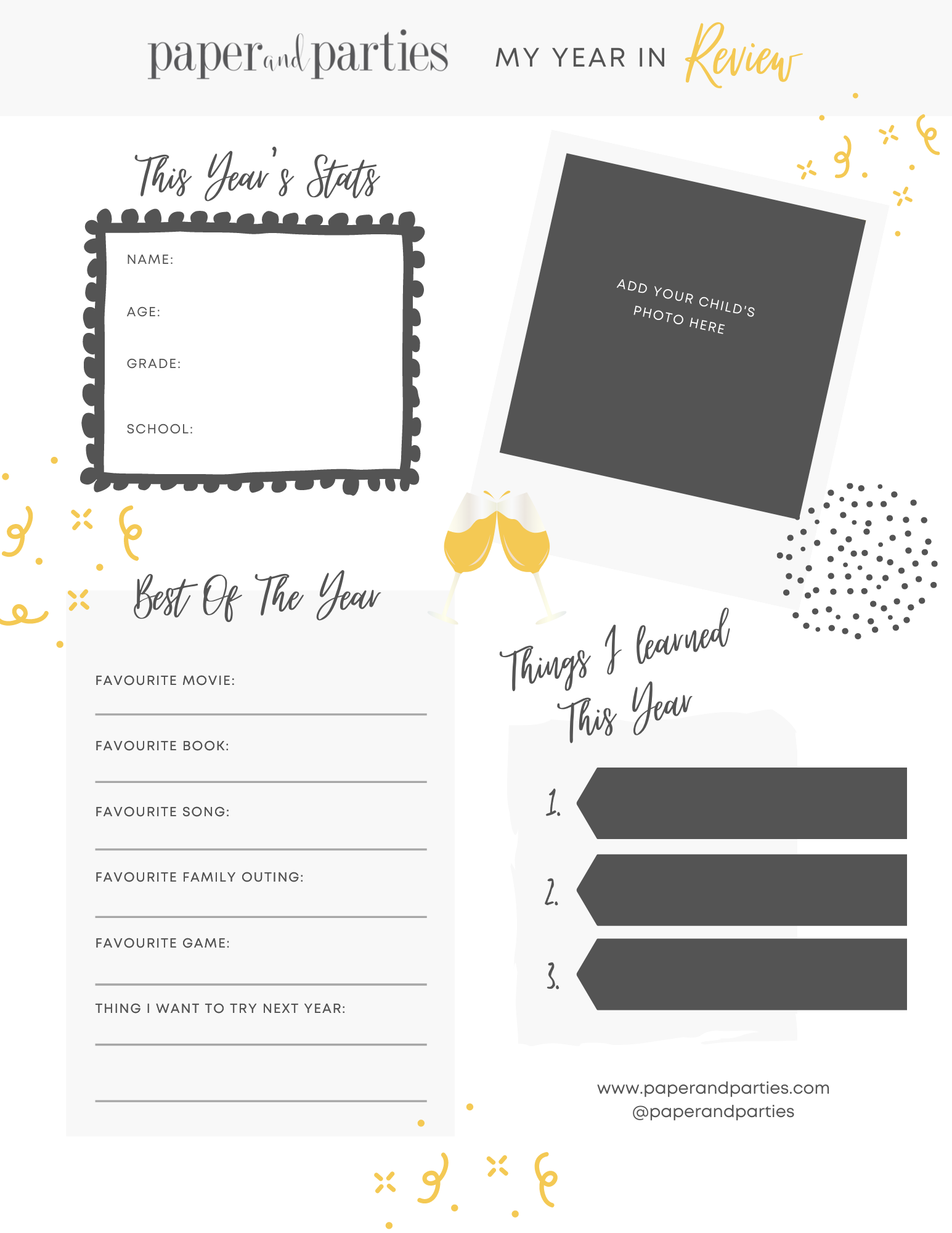 Kids New Years Eve Activity Printable Year in Review