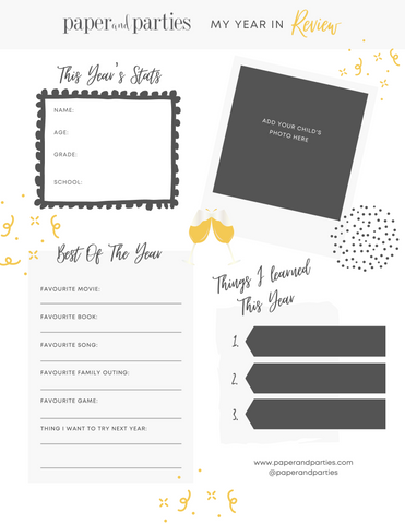 New Years Eve Kids Year In Review 2021 Printable 2020