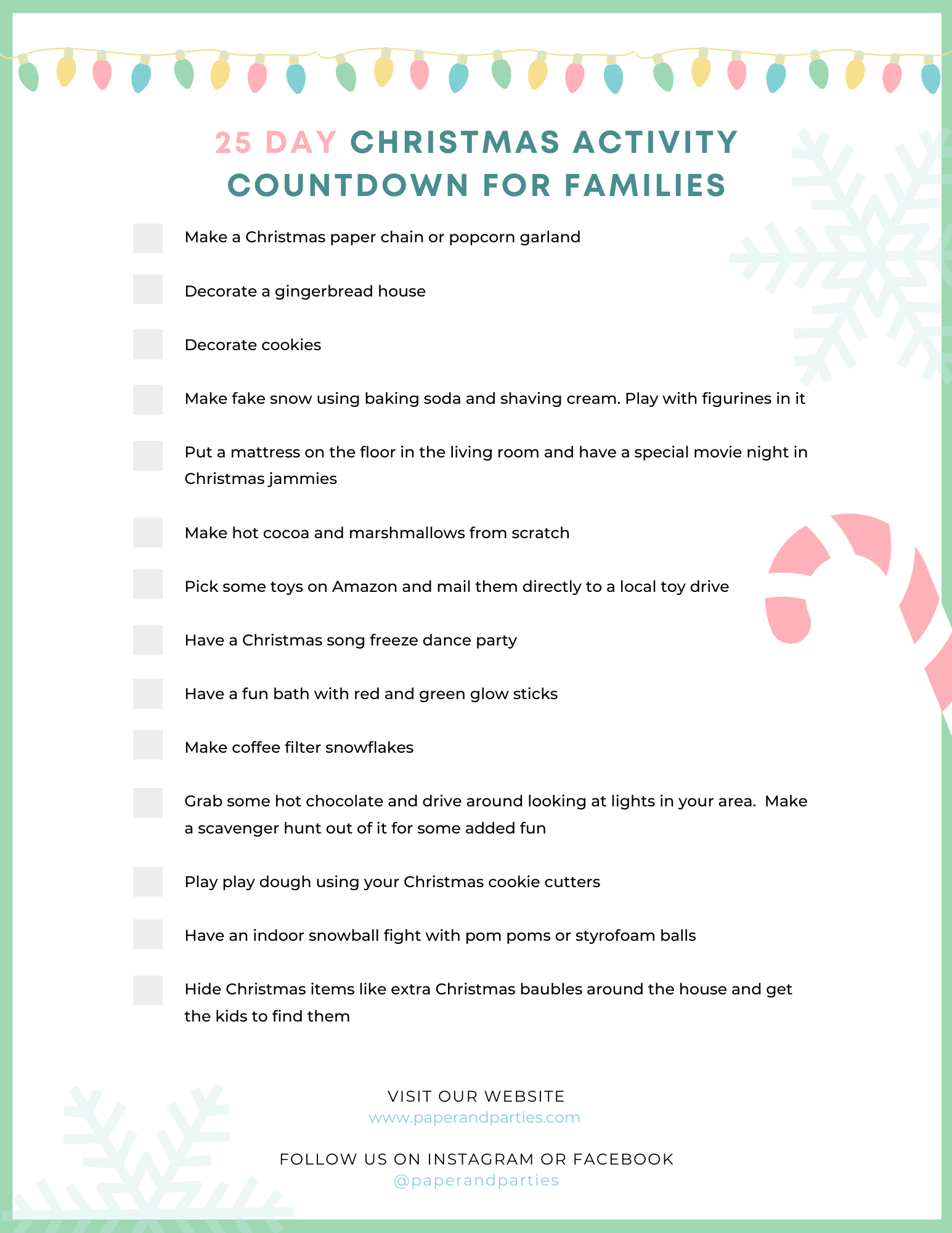 25 Day Christmas Activity Countdown For Families - Paper & Parties
