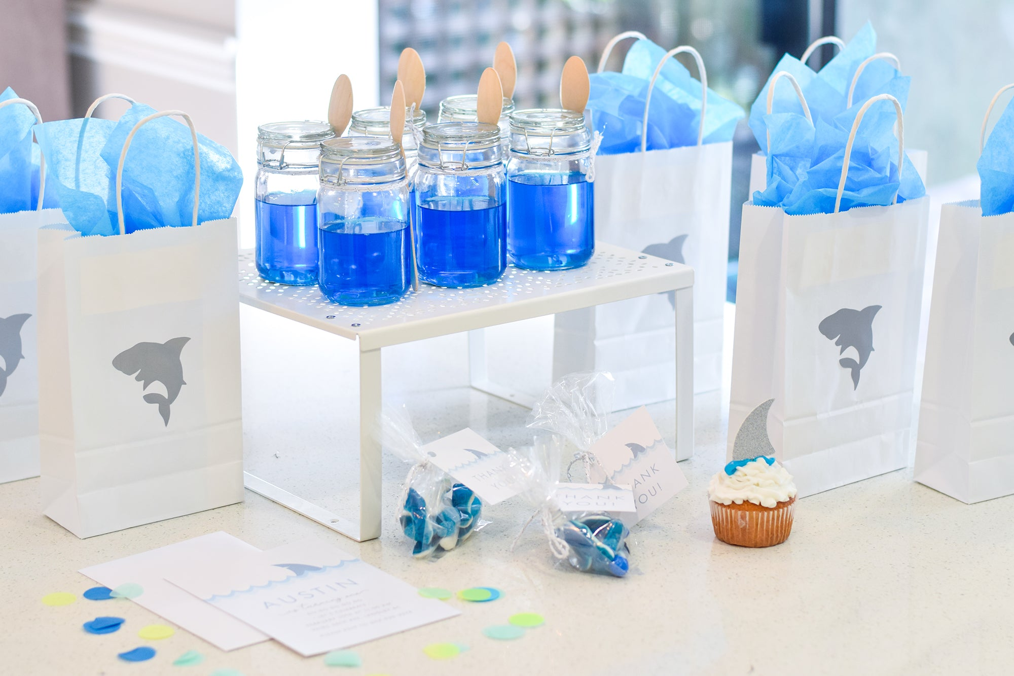 Modern Baby Shark First Birthday Party - Paper & Parties Boutique