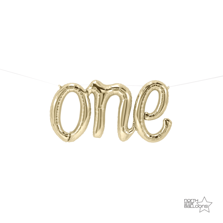 One Script Balloon Gold - Paper & Parties Boutique