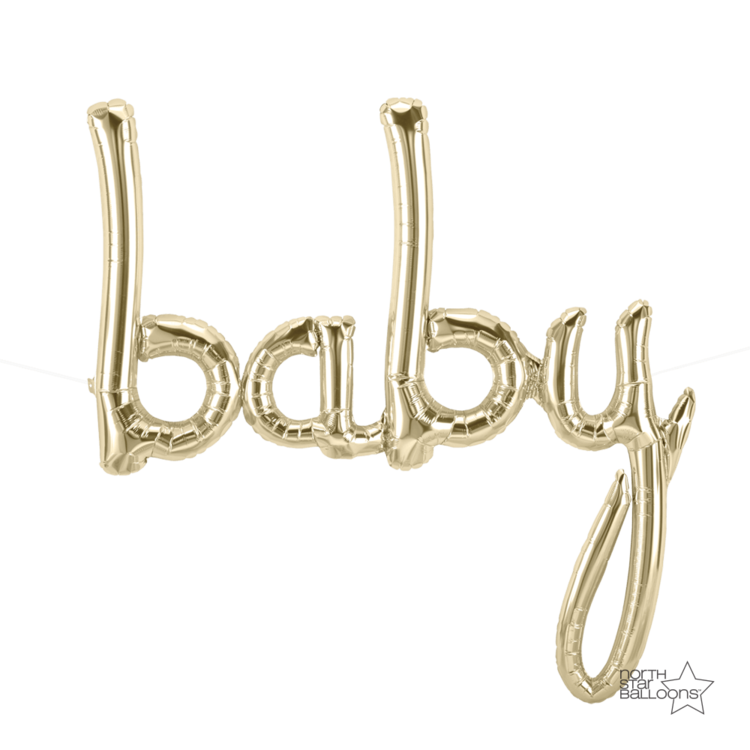 Baby Script Balloon Gold - Paper & Parties Boutique
