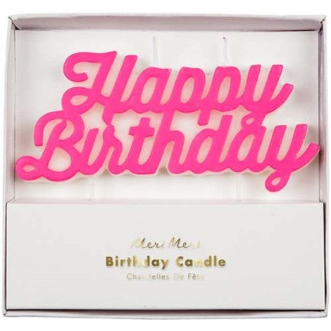 Pink Happy Birthday Candle - Paper & Parties Boutique