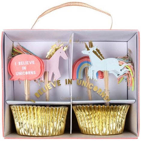 Meri Meri Unicorn Cupcake Kit with Unicorn Topper and Liner | party supplies Canada