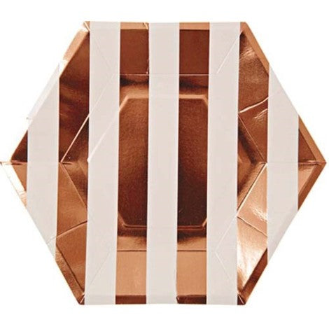 Rose Gold Striped Plates- Large - Paper & Parties Boutique