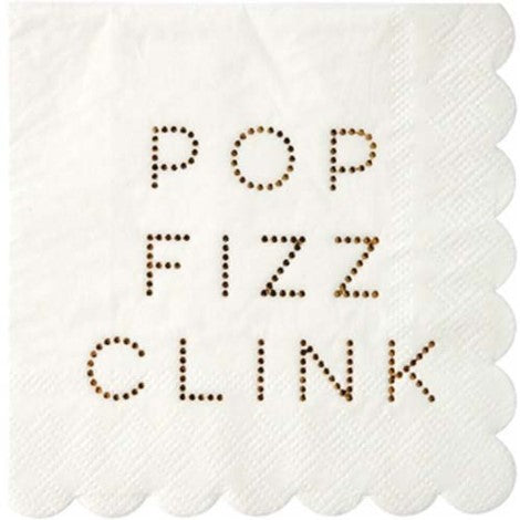 Gold Pop Fizz Clink Meri Meri Napkins-Small - Paper & Parties Boutique | Party Decorations Canada