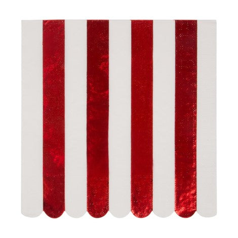Red Stripe Foil Napkin Large